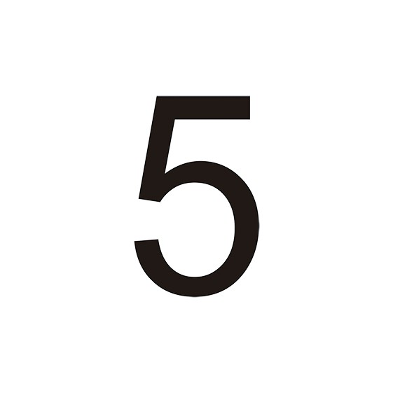 VINILO Nº 5 PARA CONO (MEDIDA 7,90 X 12,70 CM) BLANCO
